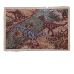 100-Piece Dinosaur Puzzle on Wooden Backing NWT